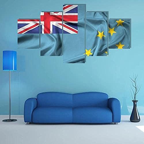 LOVEQ 5 Teilig Leinwand Wanddeko Rahmen Vlies Leinwanddrucke 5 Teilig Kunstdrucke Leinwand Bild XXL Wehende Flagge Von Tuvalu 5 Stück Leinwand Bilder 5 Teilig Wandkunst