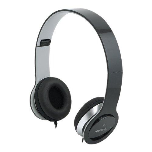 Logilink Headset stereo (schwarz) Integriertes Mikrofon Kabel 1,2m Kopfhörer 3,5mm Klinke faltbar