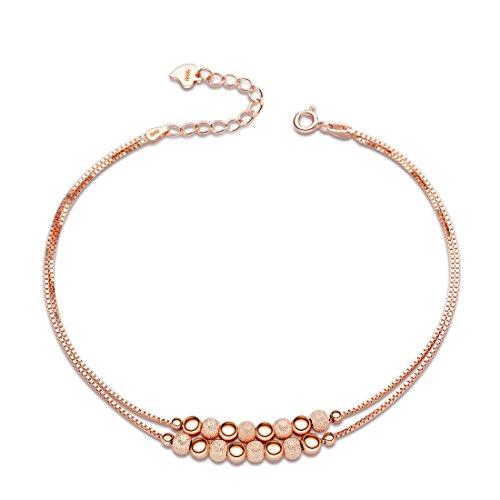 Sasavie-Pulseras Mujer-Plata de Ley 925-Bañada en Oro Rosa-Ajustable-Regalos para Mujer