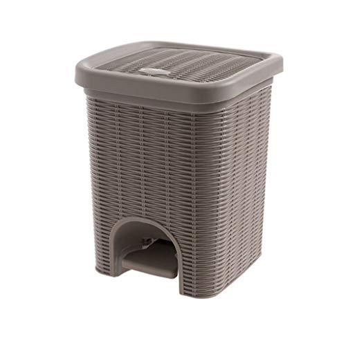 C-J-Xin Haushalt Papierkorb, Wohnzimmer Schlafzimmer Kreative Mülleimer Mit Deckel Kunststoff Bad Multifunktions Mülleimer Hohe Kapazität (Color : Brown)