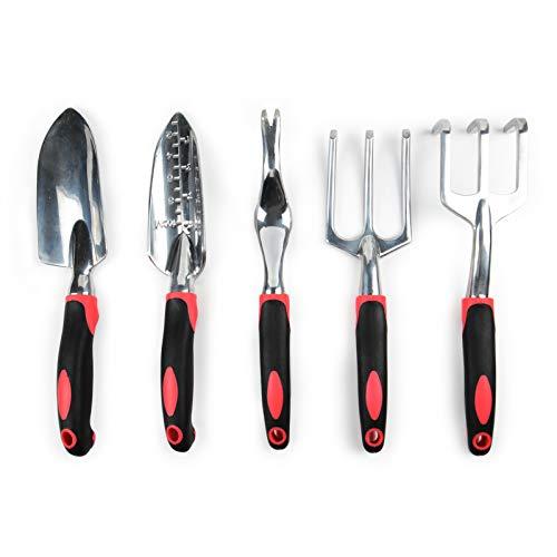 Garden Tool Set, 5PCS Aluminum Heavy Duty Garden...
