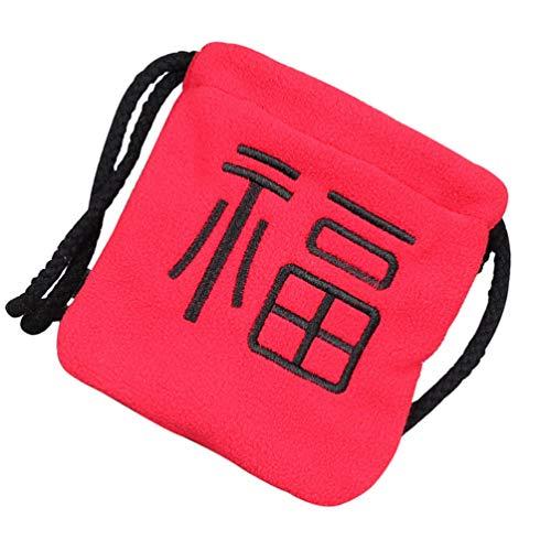 TOYANDONA Nouvel an Chinois FU Sacs Année du Boeuf 2021 Sens Fourre- Tout Sac Enfants en Peluche Sac de Messager Rouge Sac d'argent Rouge