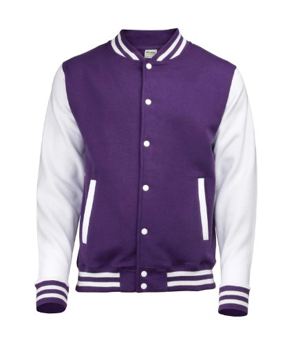 Awdis Unisex Varsity Jacket Large Purple/White
