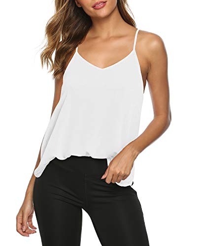 Womens Sexy Yoga Tank Tops Summer V Neck Workout Tops Backless Beach Shirts Open Back Activewear Gym Sports Shirts White M
