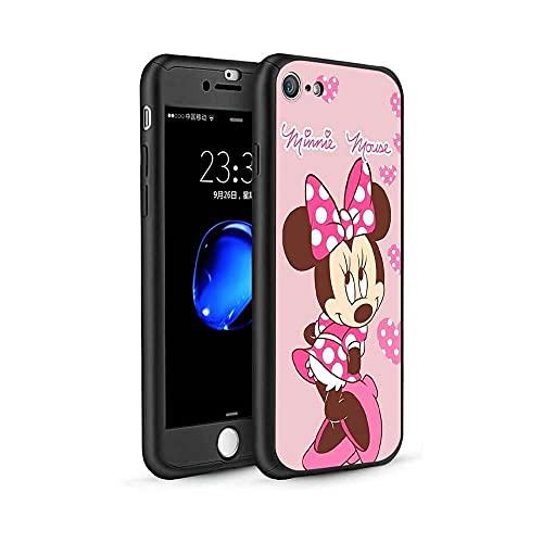 qiaohuan shop Funda para iPhone 6/iPhone 6S, diseño de Mickey Minnie 360, funda delgada con protector de pantalla de vidrio templado y soporte para anillo para iPhone 6/iPhone 6s #11