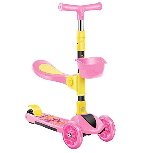 LITIAN Scooter Kinder DREI-in-one Can sitzen auf einem Roller männliche und weibliche Baby-Scooter verstellbare Falten Pink