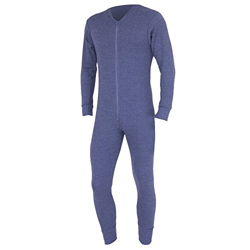 Floso Mens Thermal Underwear All in One Union Suit (Chest: 48-50inchs (XX-Large)) (Charcoal)