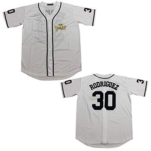 Rainbow Hawk Mens Benny The Jet Rodriguez Jersey 30 The Sandlot White Baseball Jerseys (White, M)