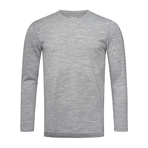 Super.natural Tee-shirt Manches Longues pour Hommes, Laine mérinos, M BASE LS 175, Taille: XXL, Couleur: Gris chiné
