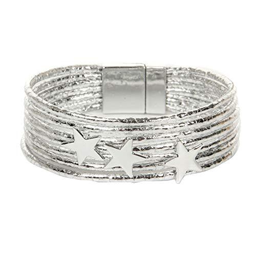 XQxiqi689sy Bracelet Bangle Boho - Pulsera de piel sintética para mujer blanco