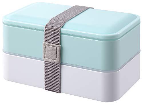 PuTwo Bento Box, Lunch Box, Porta Pranzo Ermetico Lunch, con Set di Posate, Blu, 1200 ml