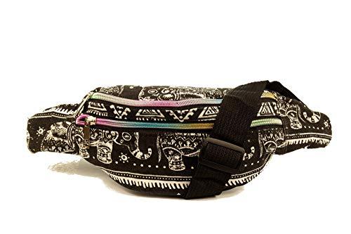 Damen Hüfttasche mit Elefant Muster Gürteltasche Bauchtasche Doggy Bag mi 3 Fächern und verstellbaren Gürtel Canvas Blau oder Schwarz