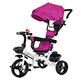 Tricycle for Toddlers, 5-in-1 Baby Ride-On Tricycle Stroll Trike with Adjustable Canopy & Storage Basket, Safety Harness, Folding Pedal Tricycle Stroller for Boys and Girls【US Fast Shipment】 (Purple)