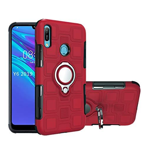 Hulle fur Huawei Y6 2019 MRD LX1 Y6 Prime 2019 MRD L21 MRD L21A Y6s 2019 JAT LX1 JAT L21 JAT LX3 JAT L23 JAT L29 JAT L41 Honor Y6S Hulle 360 Hulle Grad drehbarer Ringhalter Seitenstander Rot