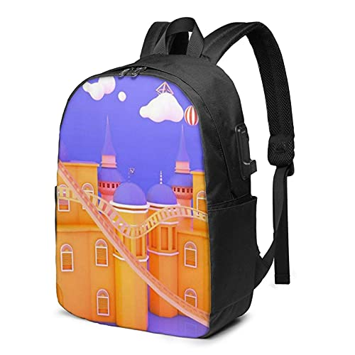 XCNGG Laptop Backpack,17 Inch Travel Lightweight Backpack with USB Charging Port Purple Orange Castle