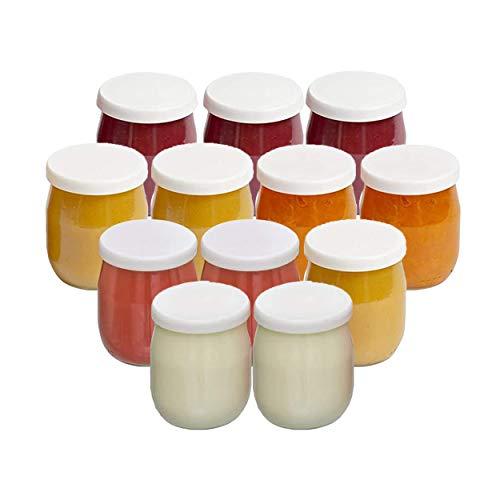 La ColletterieTM – Lot de 12 Pots de Yaourt en Verre avec Couvercles Étanches – Fabriqués en France – pour Yaourtières – Multicuiseurs et Robots Cuiseurs (Thermomix, SEB, etc) – 143 ML / 125 grammes