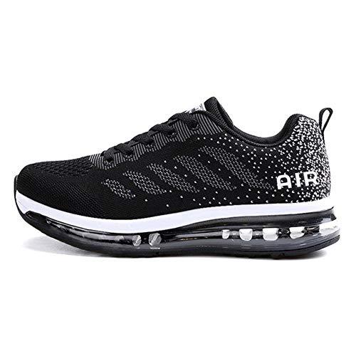Fexkean Unisex Herren Damen Sneakers Sportschuhe Bequeme Laufschuhe Schnürer Air Running Shoes 35-45(833BK35)