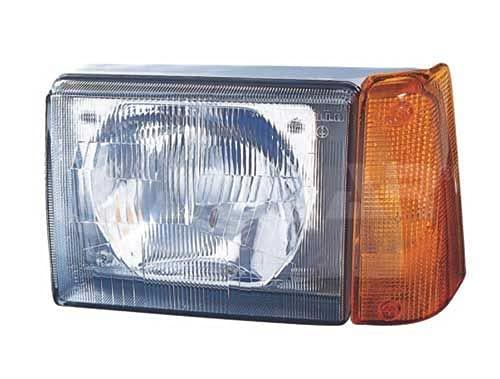 Alkar 3705013 Phare,cabochon avec feu, manuel, orange, lampe asymetrique, H4