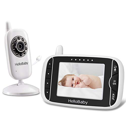 HelloBaby HB32 Wireless Video Baby Monitor 3.2Inch LCD Display 960feet with Two-Way Talk System, Infrared Night Vision, Expandable Cameras Long Range and Rechargeable Battery