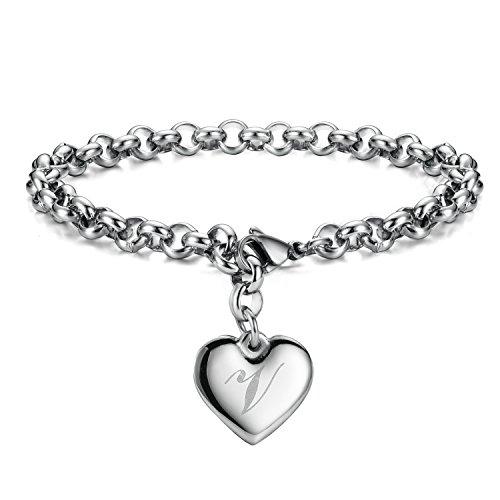 Initial Charm Bracelets Stainless Steel Heart Letters V Alphabet Bracelet for Women