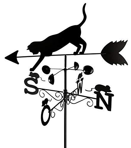 Wenko Wetterfahne Katze Wetterhahn, lackiertes Metall, 50 x 170 x 40 cm, schwarz