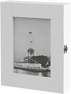 HS-Lighting - Armario para llaves 11 ganchos de madera con marco 24 x 30 x 6 cm color blanco
