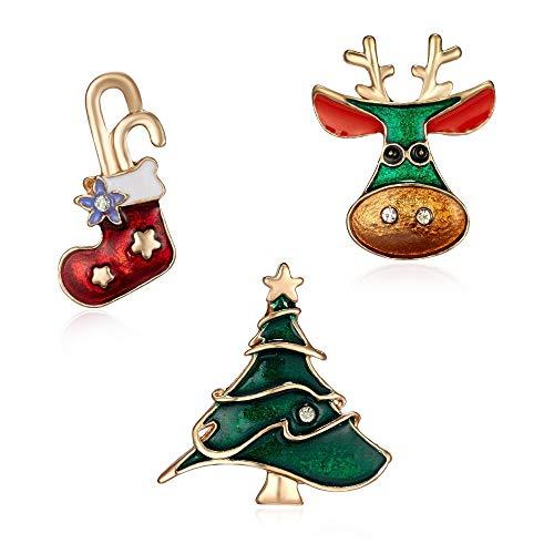 XZFCBH broche 3-delige kaart Broche Set Kerst Sock Kerstboom Elk Schilderij Olie Badge Kleine Broche Vrouwen Corsage Mode Sieraden