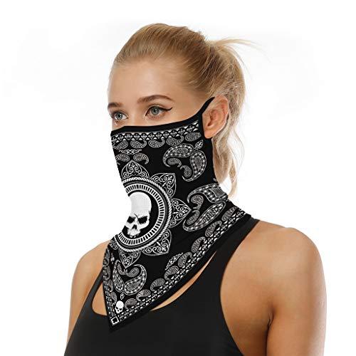 riou Face Shield Multifunktionstuch Motorrad Mundschutz Halstuch Bandana Schlauchschal für Damen Herren (Neu O)