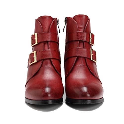LXWS Botas Martin para Mujer,Botines con Remaches Hebilla Metal a la Moda,Botas Cortas Cuero con Punta Redonda,Zapatos Individuales tacón bajo con Cremallera Lateral,Red-38