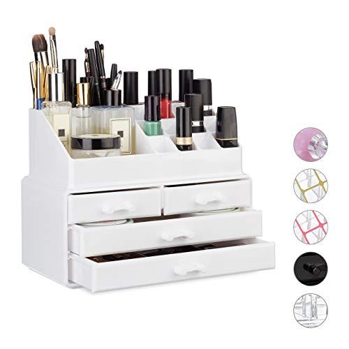 Relaxdays Make Up Organizer klein, 2-teilige Schmink Aufbewahrung Acryl, mit Lippenstifthalter und 4...