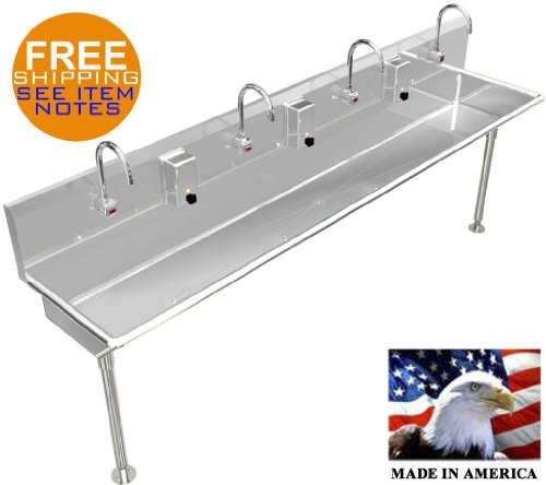 """4 MULTI STATION 80"""" WASH UP HAND SINK ELEC. FAUCET HANDS FREE STAINLESS STEEL"""