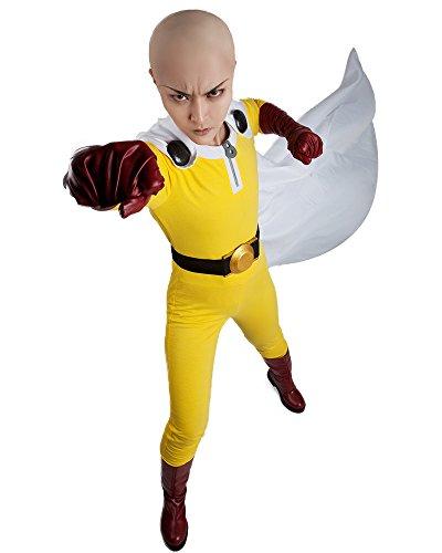 Miccostumes Herren Saitama Cosplay Kostüm inkl. Stiefelüberzug (Herren XS) gelb