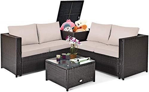 YRRA 4 Stück Wicker-Terrasse Set mit Lagerung Alle wetterfesten Outdoor-Gesprächs-Set mit Liebesatglas-Top-Couchtisch und -aufbewahrungsbox Geeignet (1 Türkis)-1_Braun