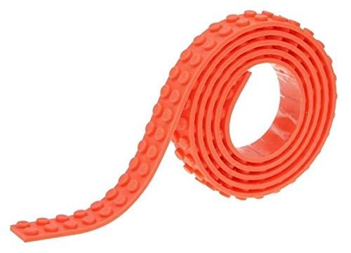 DWhui Bloques de construcción Cinta Base Base Juguete Base Flexible Flexibles Niños Adultos DIY Edificio Bucles de plástico Cinta Adhesiva Cinta Adhesiva (Color : Orange, Size : 100CM)