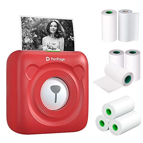 Bisofice mini impresora para movil,PeriPage Mini Pocket Wireless BT Impresora térmica Imagen Foto Etiqueta Nota Impresora de papel de recibo con 8 rollos de papel térmico para Android iOS Windows