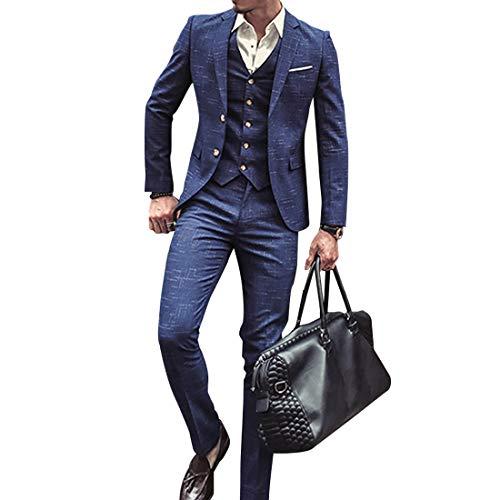 Herren Anzug Slim Fit 3 Teilig mit Weste Sakko Anzughose Business Smoking von Harrms (Blau, M/48)