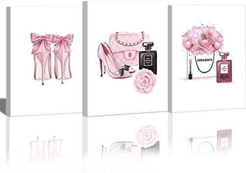 Juego de pósteres modernos con marco de fotos, modernos murales de pared para salón, juego elegante con cuadros a juego, rosas y flores, lienzo de maquillaje, decoración de pared