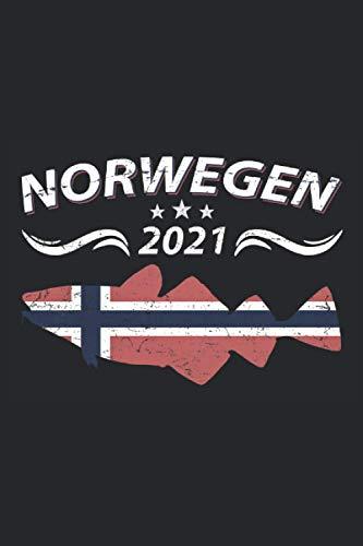 Norwegen 2021: Schickes Notizbuch, Tagebuch oder Logbuch zum Norwegen Angeln 2021 Urlaub. Witzige Norwegen Geschenke Männer zum Hochseeangeln auf ... - 100 Seiten Angler Notizbuch A5 Kariert