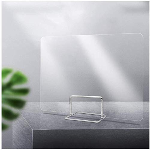 HSLQXH Deflector anti-aerosol Partición de pantalla transparente 12 tamaños Base de metal Sin clavos Sin pegamento Protección de esquinas redondeadas Prevención de gotas Protección Escuela / Oficina