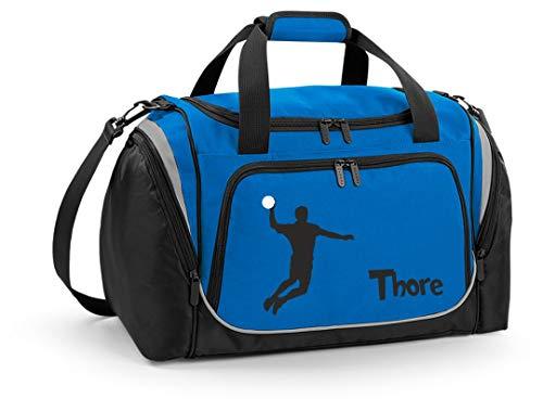 Mein Zwergenland Sporttasche Kinder personalisierbar mit Schuhfach, Kindersporttasche 39L mit Name und Handball Bedruckt in Sapphire Blau