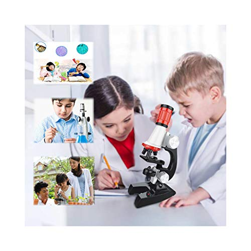 Singleluci 1200X Adjustable Focus Microscope with Specimen Kit Toy Best Early Learning Educational Development Gift for Kids Boys Girls Perfect for Biology Learning at Home and School