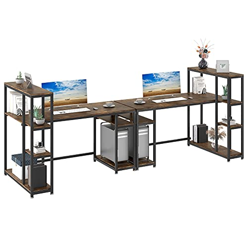 YITAHOME 110 inches Computer Desk, Double Workstation with 4 Tier Storage Shelves, Two People Office Desk with Bookshelf Writing Study Work Table for Home Office, Rustic Brown
