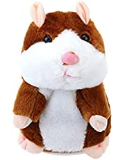 shinetoy talking hamster repeats what you say educational talking Plush,toy repeating hamster toy gift for boys and girls - Brown(Pack of 1)