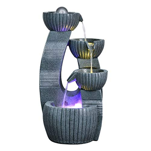 """Indoor Tabletop Fountain Indoor/ Outdoor Table-Top Water Fountain 4 Tiered Bowls Waterfall Water Fountain for Table Desk Yard Garden Patio Deck Home Relaxation 23.6"""" Height, Gray Home Bedroom decorati"""