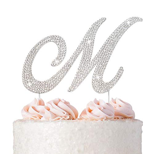 Letter M Cake Topper - Premium Silver Metal - M Monogram Wedding or Anniversary Party Sparkly Rhinestone Initial Decoration Makes a Great Centerpiece - Now Protected in a Box
