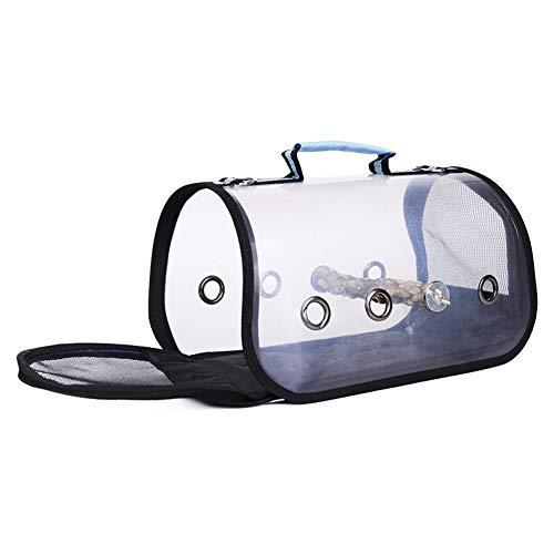 HMMJ Vogel Trägerkäfig Reisetasche, Transparent Breath Vogel Träger-Spielraum Cage mit Barsch, Leichte Vogel Rucksack for Haustier-Vogel (Color : Blue, Size : S)
