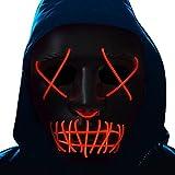 Halloween Led Light up Mask - Led Mask Scary Mask Costume Mask EL Wire Purge Hacker Mask Blue Glow Led Face Mask for Halloween Festival Party,Kids,Women,Men (punk black red line mask)