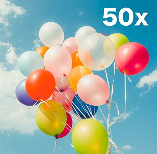 TK Gruppe Timo Klingler 50x Luftballons Bunte Farben Ø 35 cm Ballons, Helium geeignet - 100 % Bio als Deko für Kinder und Geburtstage (50x bunt)