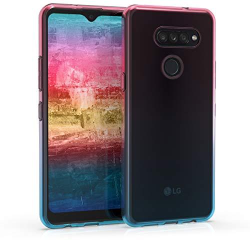 kwmobile LG K50S Hülle - Handyhülle für LG K50S - Handy Case in Zwei Farben Design Pink Blau Transparent