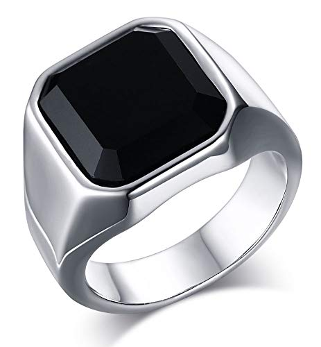 VNOX Jewellery Fashion Stainless Steel Black Agate Wedding Engagement Promise Ring for Mens Womens,Size N 1/2